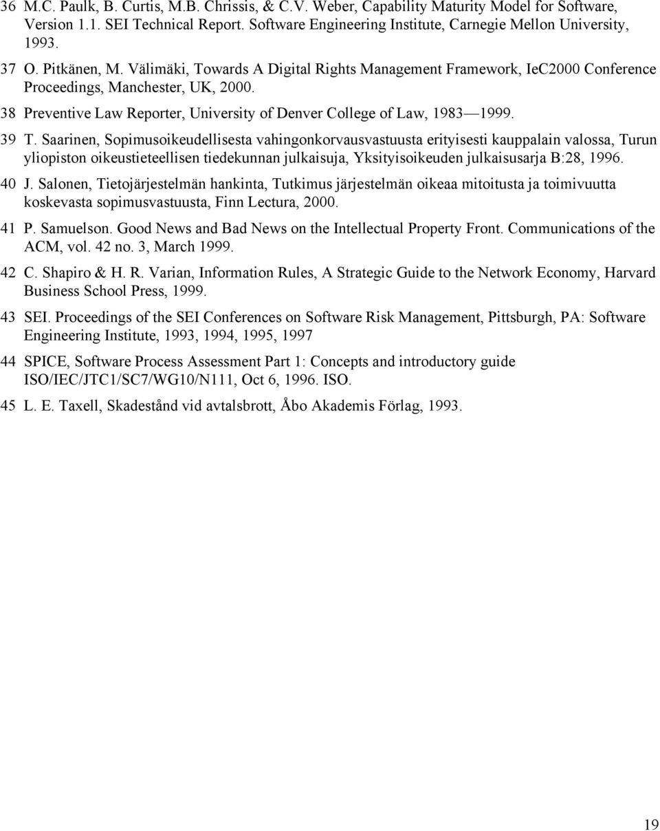38 Preventive Law Reporter, University of Denver College of Law, 1983 1999. 39 T.