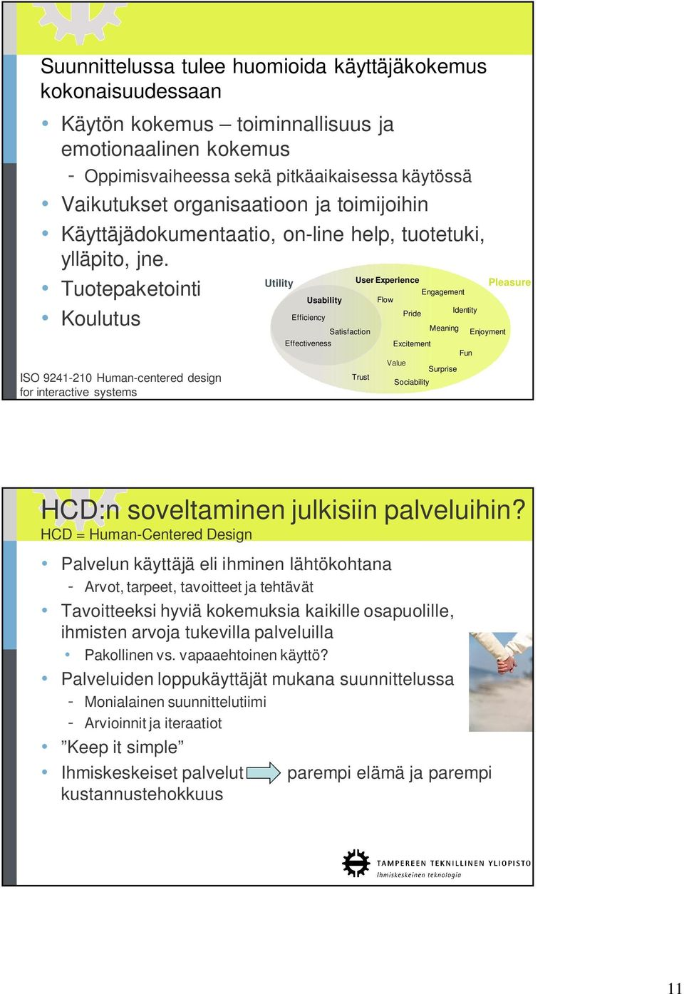 Utility User Experience Tuotepaketointi Engagement Usability Flow Pride Identity Efficiency Koulutus ISO 9241-210 Human-centered design for interactive systems Effectiveness Satisfaction Trust