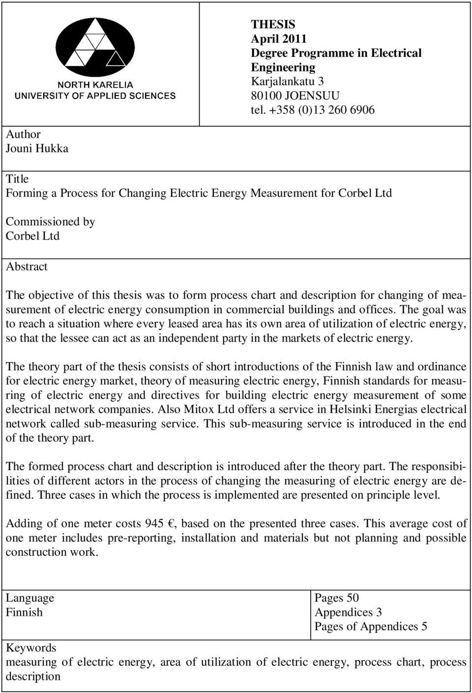 process chart and description for changing of measurement of electric energy consumption in commercial buildings and offices.