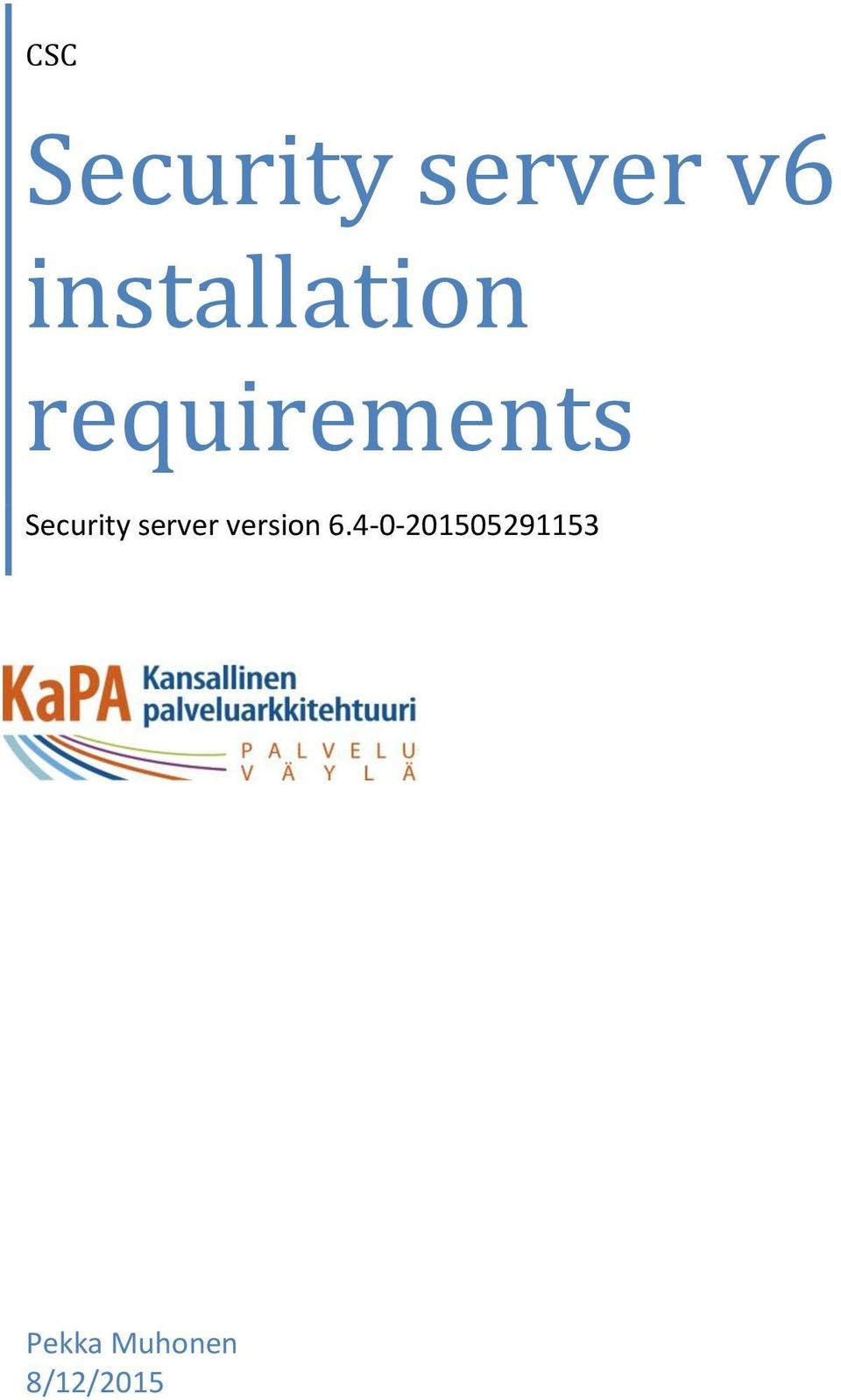 Security server version 6.