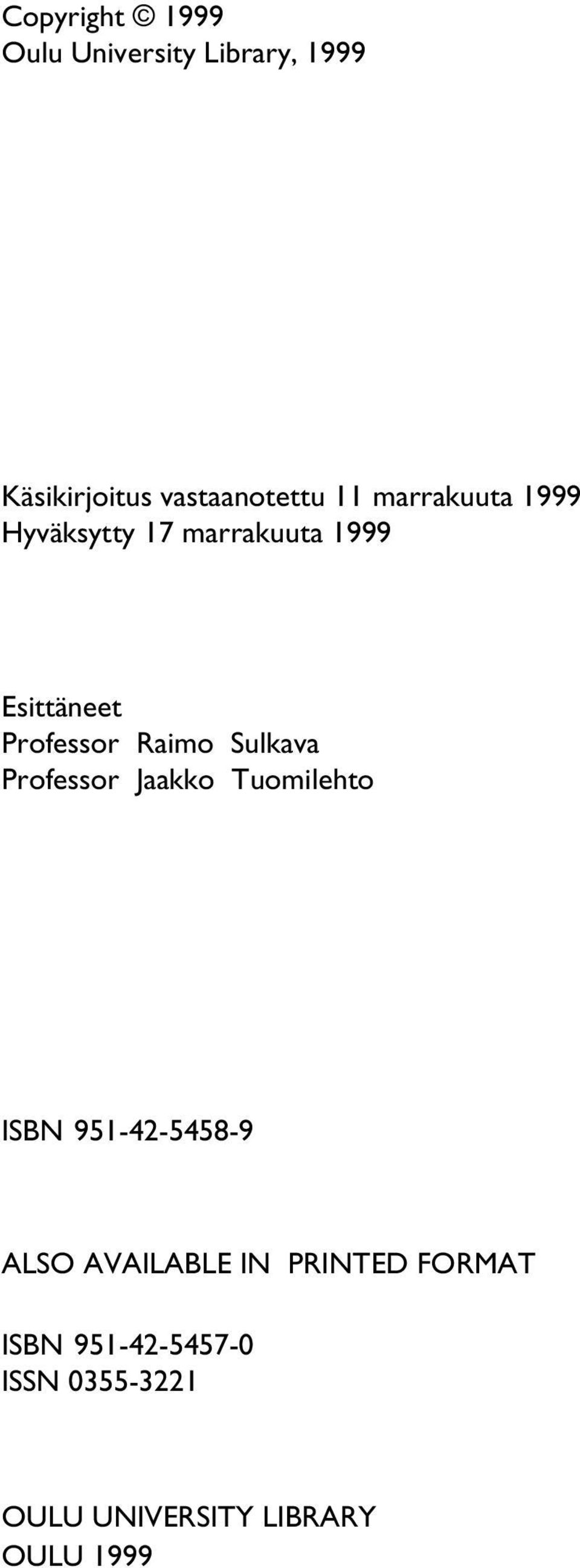 Sulkava Professor Jaakko Tuomilehto ISBN 951-42-5458-9 ALSO AVAILABLE IN