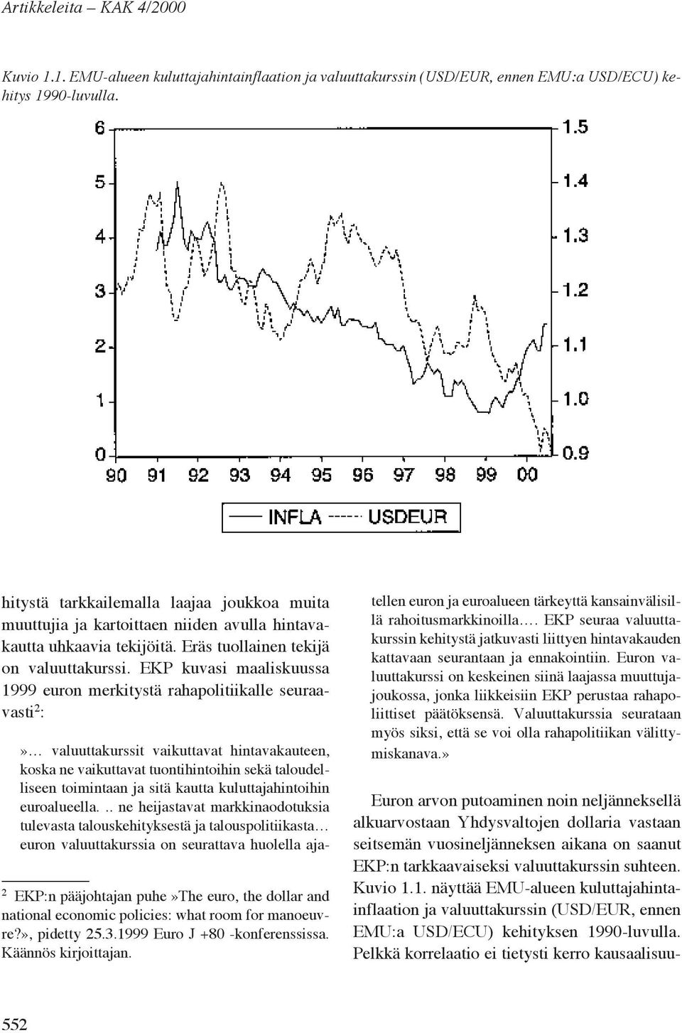EKP kuvasi maaliskuussa 1999 euron merkitystä rahapolitiikalle seuraavasti 2 : 2 EKP:n pääjohtajan puhe»the euro, the dollar and national economic policies: what room for manoeuvre?», pidetty 25.3.