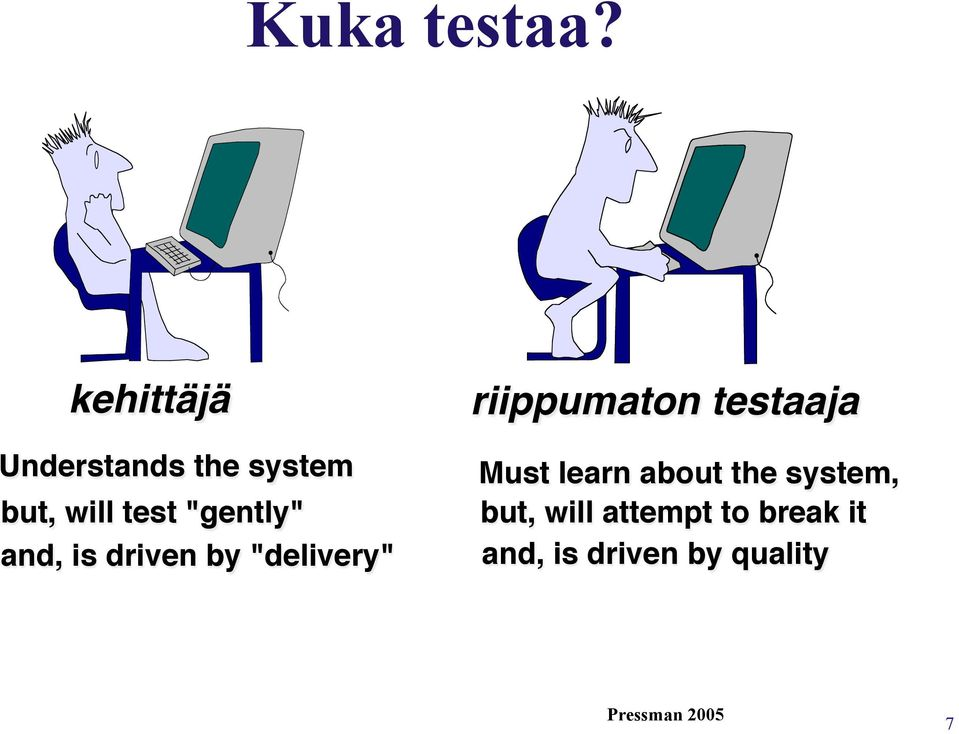 "is driven by ""delivery"""" "" "" riippumaton testaaja!"