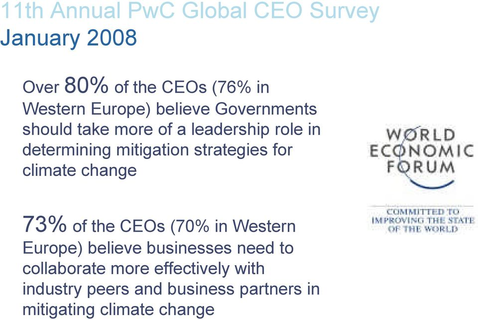 strategies for climate change 73% of the CEOs (70% in Western Europe) believe businesses