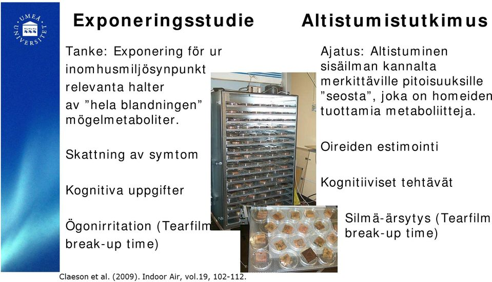 Skattning av symtom Kognitiva uppgifter Ögonirritation (Tearfilm break-up time) Altistumistutkimus