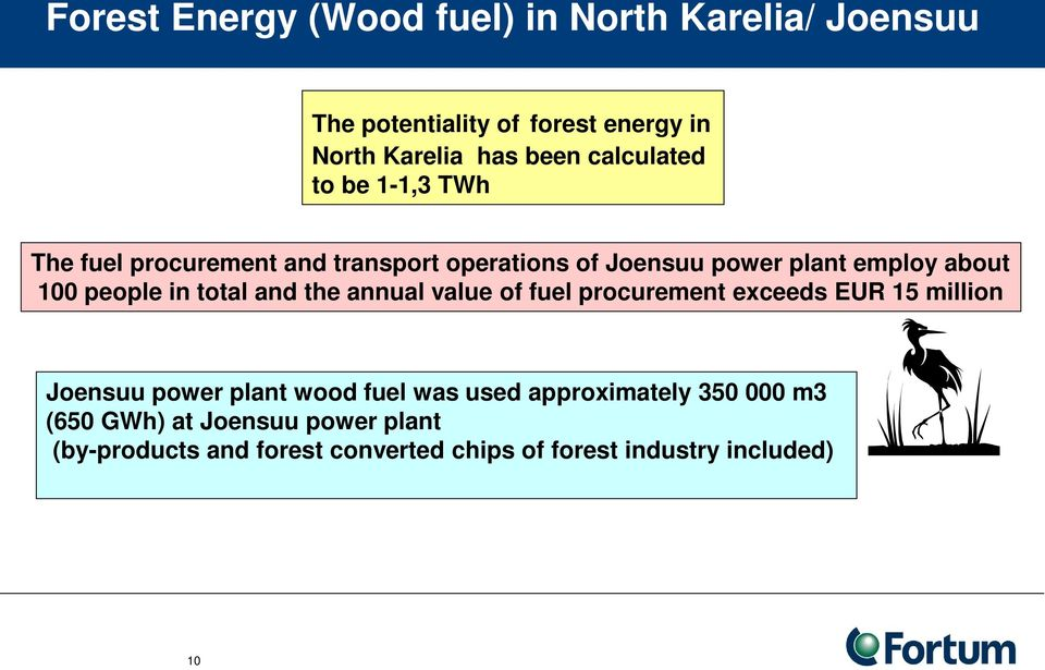 people in total and the annual value of fuel procurement exceeds EUR 15 million Joensuu power plant wood fuel was used