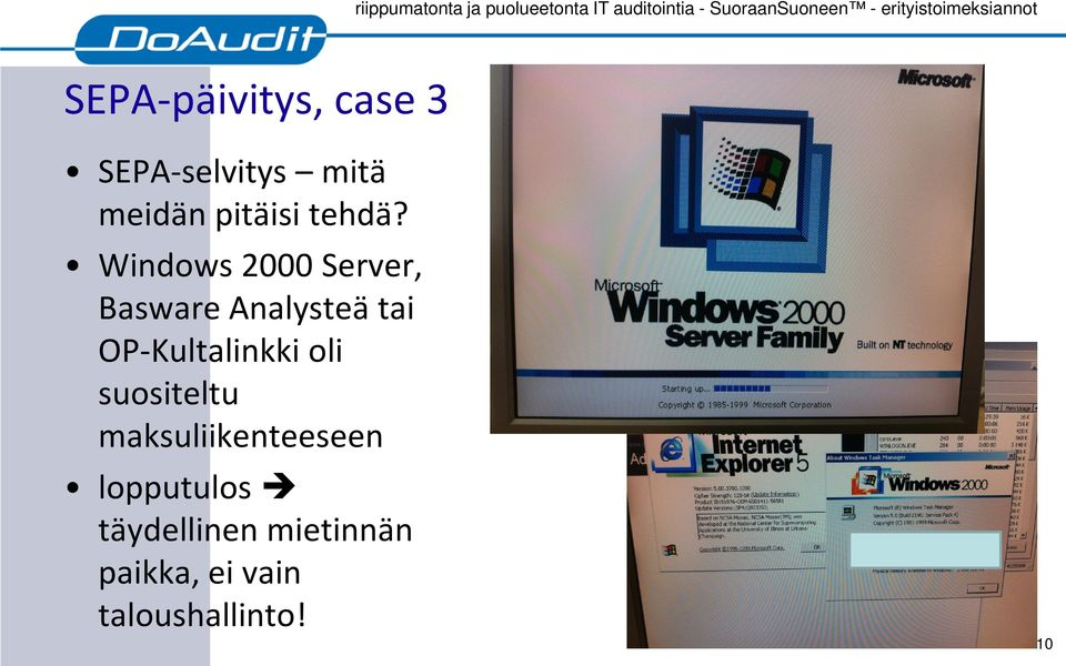 Windows 2000 Server, Basware Analysteä tai