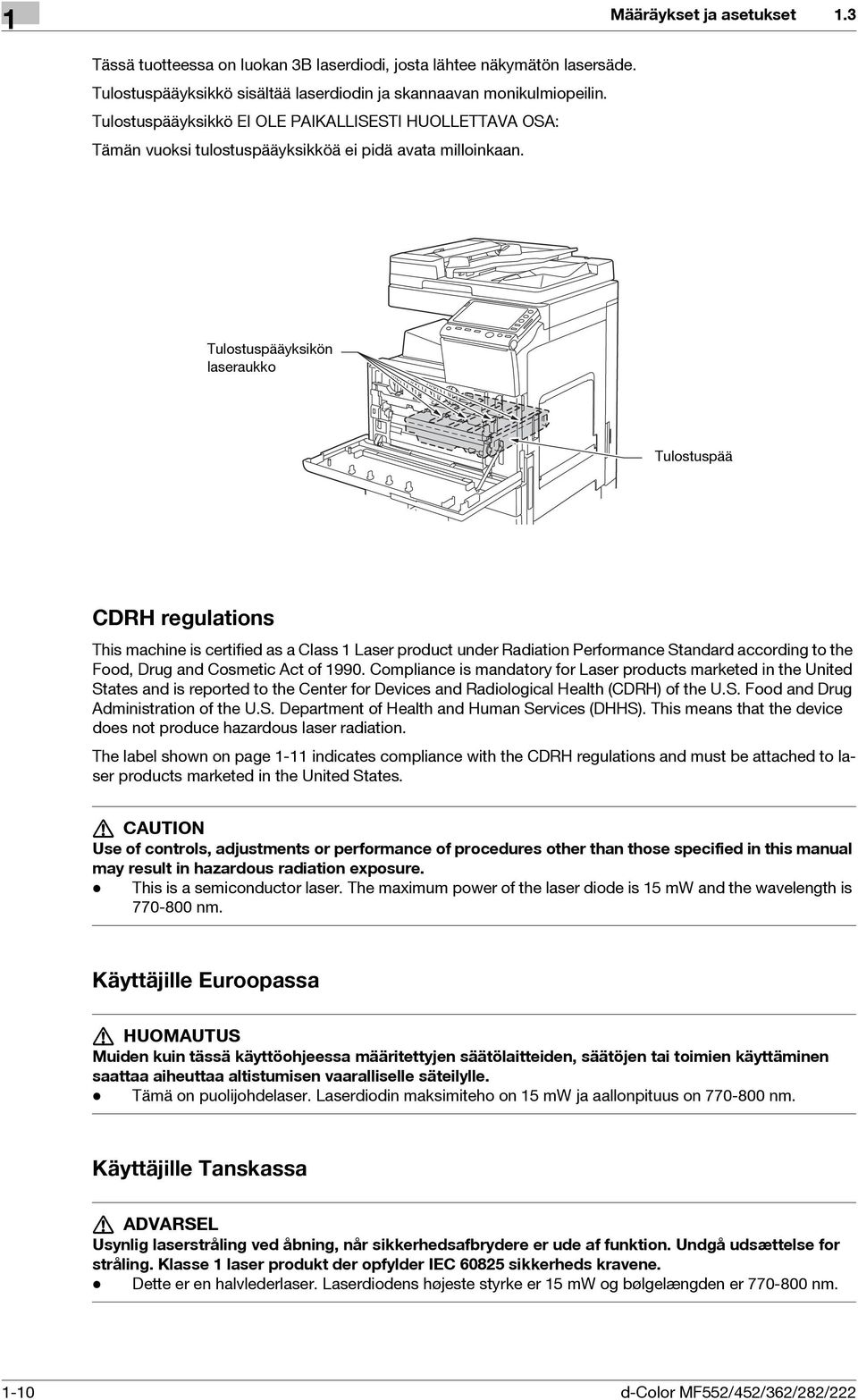 3 Tulostuspääyksikön laseraukko Tulostuspää CDRH regulations This machine is certified as a Class 1 Laser product under Radiation Performance Standard according to the Food, Drug and Cosmetic Act of