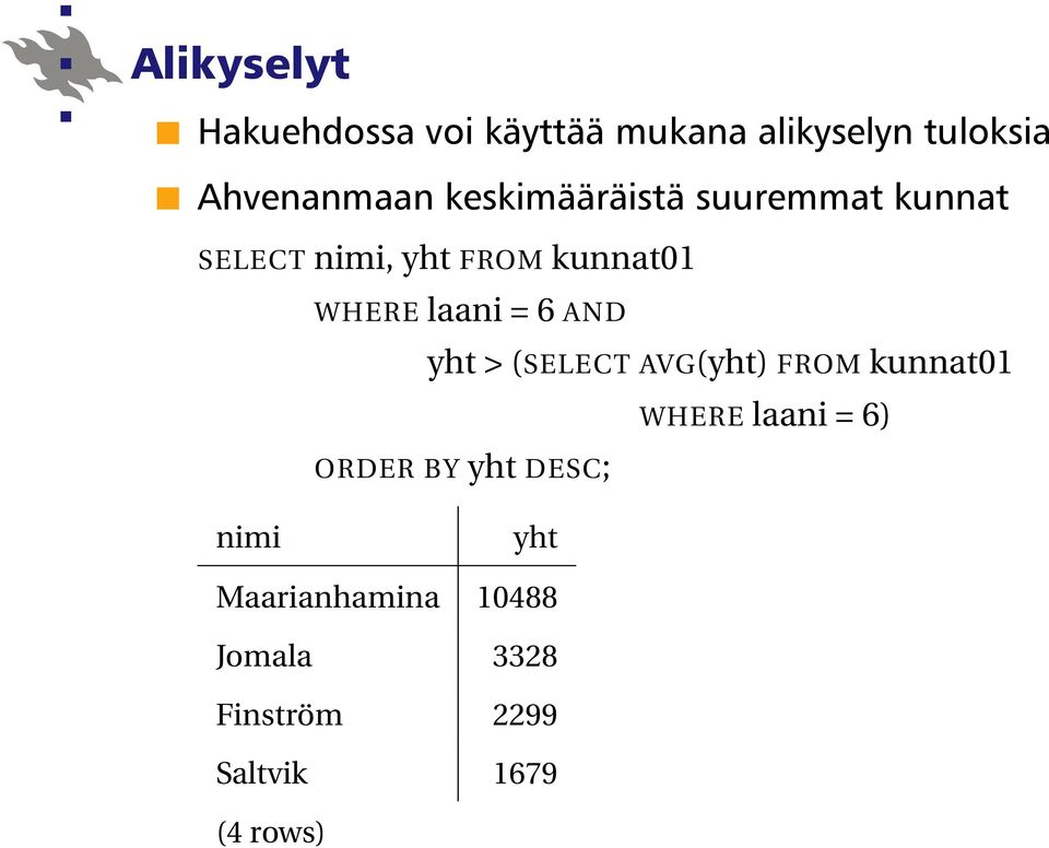 6 AND yht > (SELECT AVG(yht) FROM kunnat01 WHERE laani = 6) ORDER BY yht