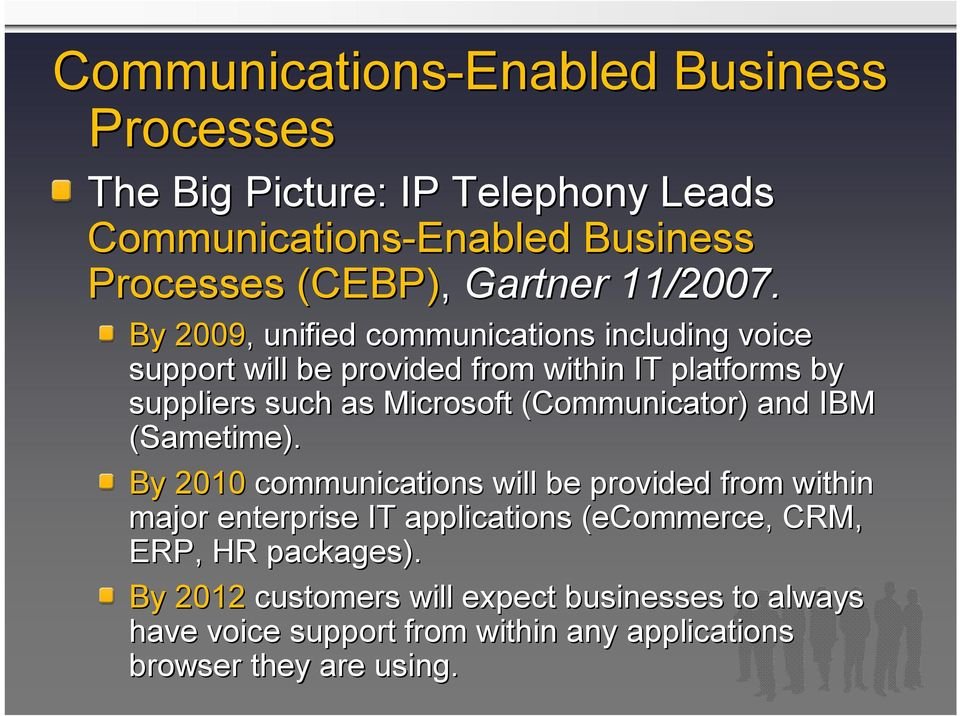 By 2009,, unified communications including voice support will be provided from within IT platforms by suppliers such as Microsoft