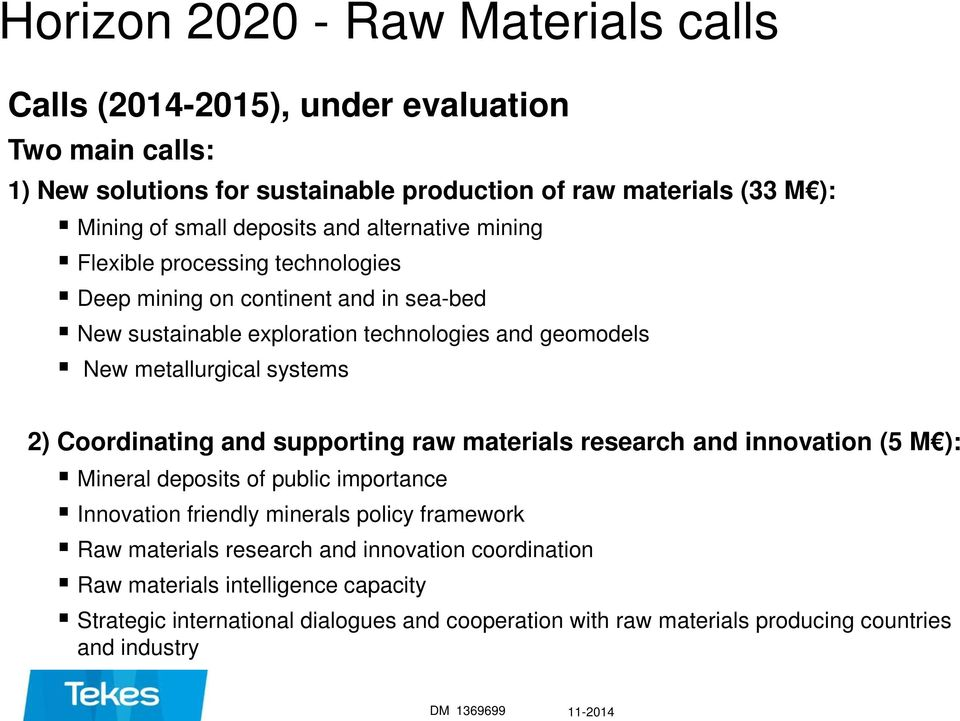 systems 2) Coordinating and supporting raw materials research and innovation (5 M ): Mineral deposits of public importance Innovation friendly minerals policy framework Raw