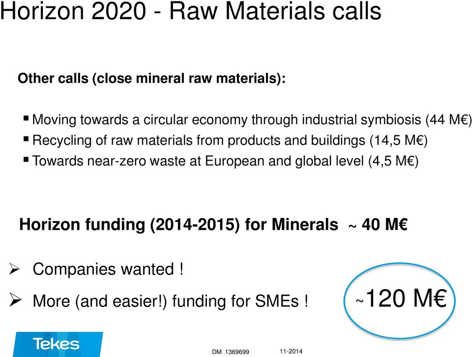 buildings (14,5 M ) Towards near-zero waste at European and global level (4,5 M ) Horizon funding