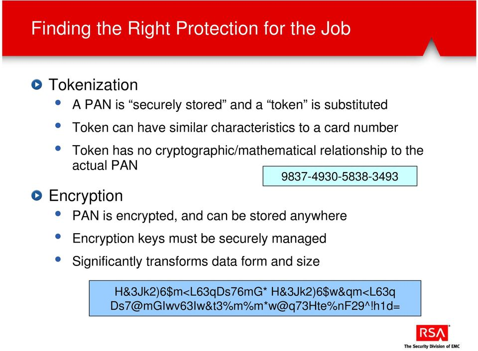 9837-4930-5838-3493 Encryption PAN is encrypted, and can be stored anywhere Encryption keys must be securely managed