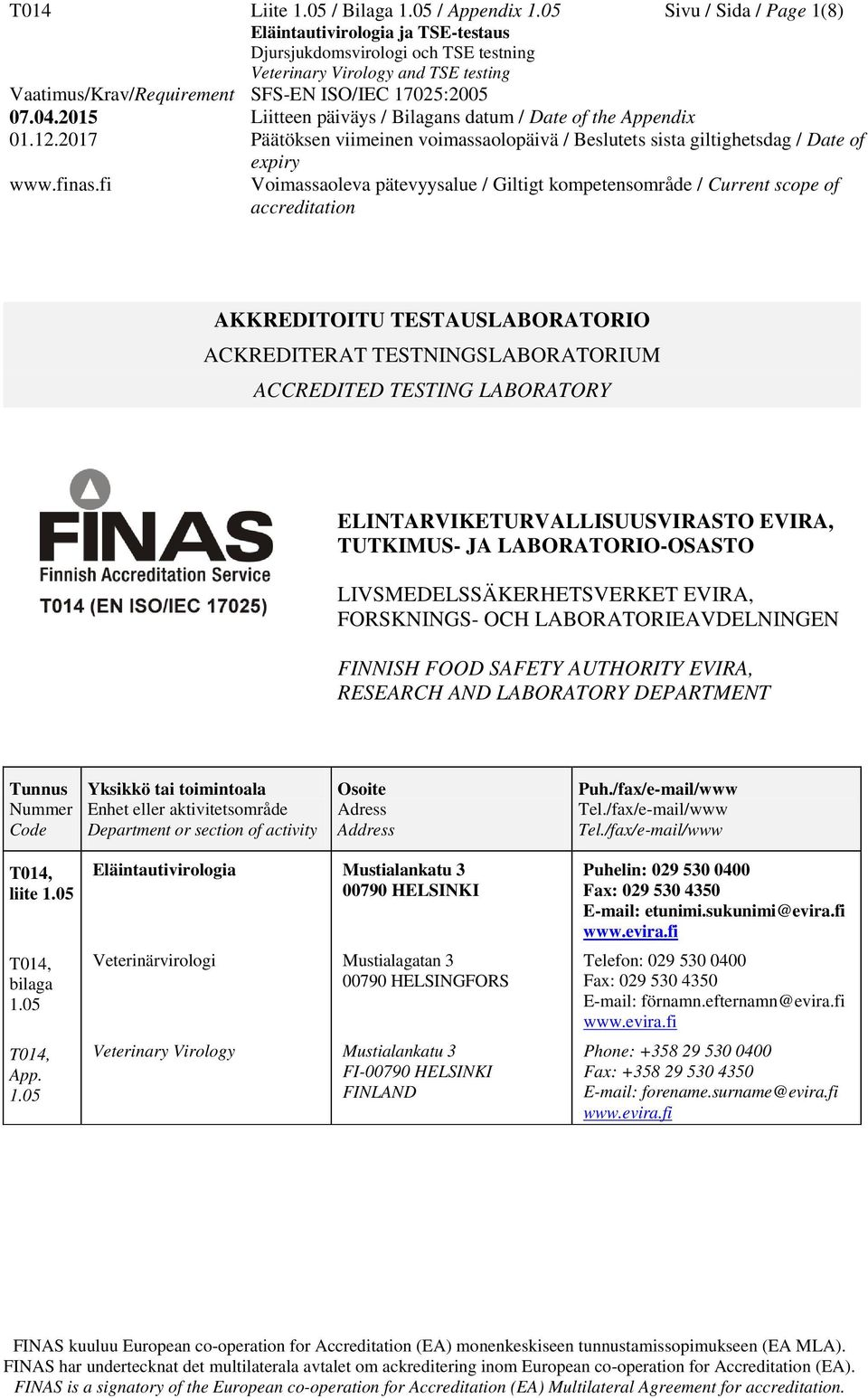LIVSMEDELSSÄKERHETSVERKET EVIRA, FORSKNINGS- OCH LABORATORIEAVDELNINGEN FINNISH FOOD SAFETY AUTHORITY EVIRA, RESEARCH AND LABORATORY DEPARTMENT Tunnus Nummer Code Yksikkö tai toimintoala Enhet eller
