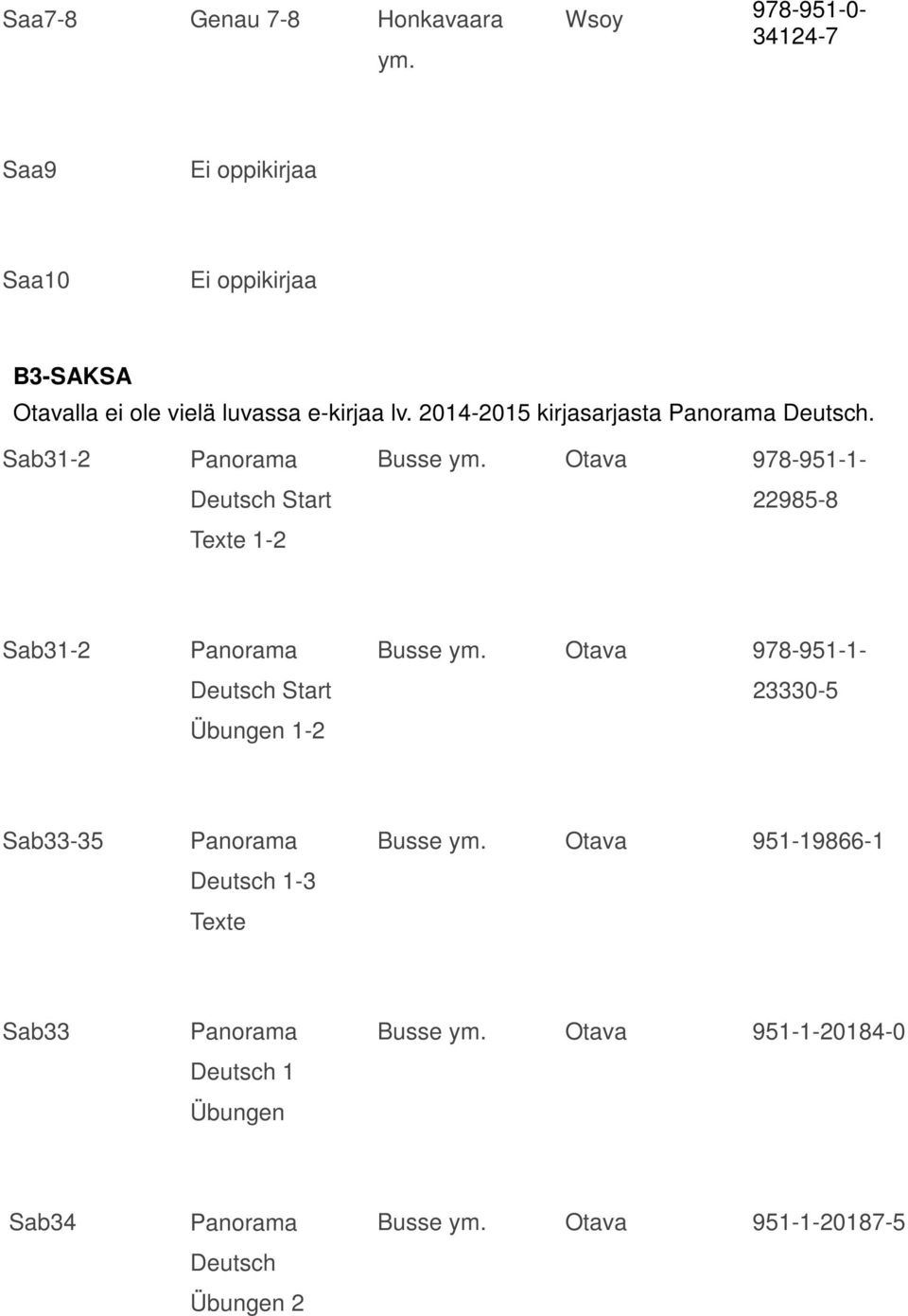 Sab31-2 Deutsch Start Texte 1-2 Busse Otava 978-951-1-22985-8 Sab31-2 Deutsch Start Übungen 1-2 Busse