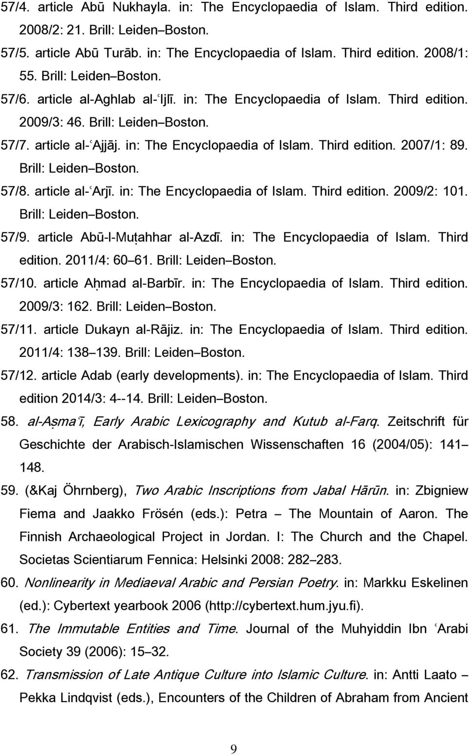 Brill: Leiden Boston. 57/8. article al-ʿarjī. in: The Encyclopaedia of Islam. Third edition. 2009/2: 101. Brill: Leiden Boston. 57/9. article Abū-l-Muṭahhar al-azdī. in: The Encyclopaedia of Islam. Third edition. 2011/4: 60 61.