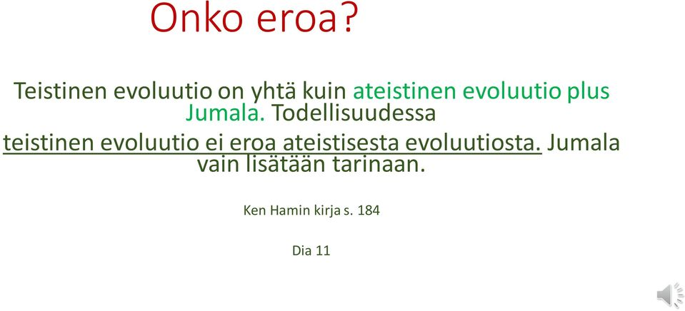 evoluutio plus Jumala.
