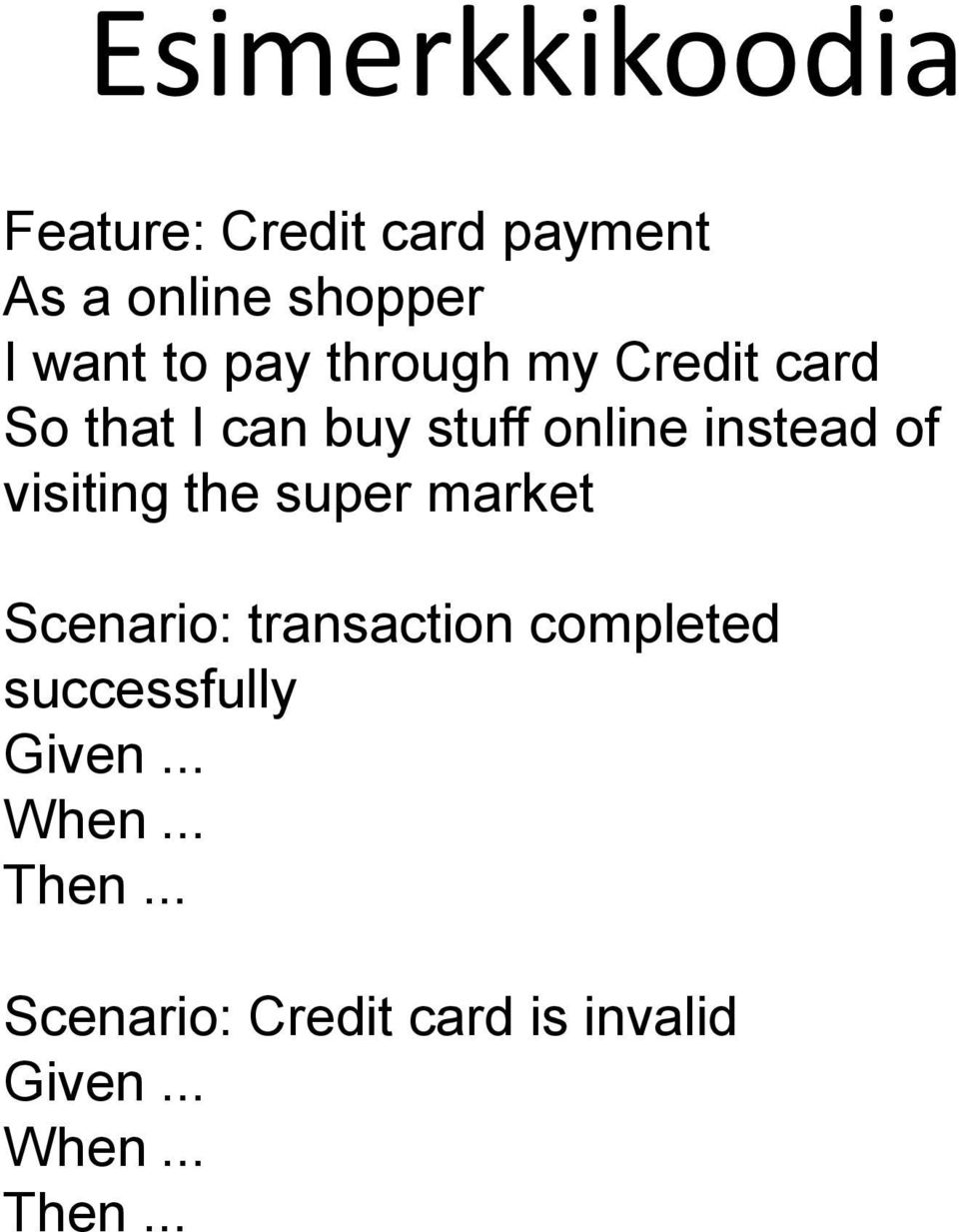 visiting the super market Scenario: transaction completed successfully