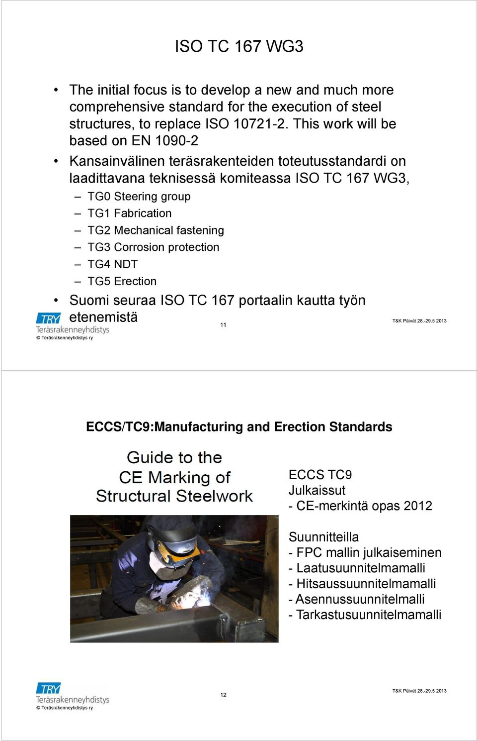 Fabrication TG2 Mechanical fastening TG3 Corrosion protection TG4 NDT TG5 Erection Suomi seuraa ISO TC 167 portaalin kautta työn etenemistä 11 ECCS/TC9:Manufacturing and
