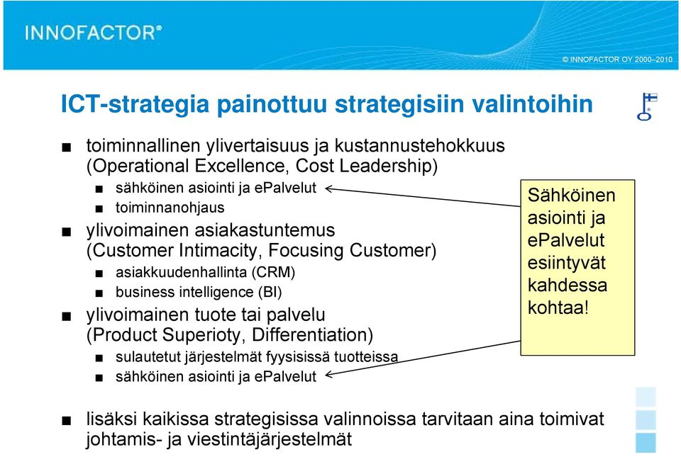 intelligence (BI) ylivoimainen tuote tai palvelu (Product Superioty, Differentiation) sulautetut järjestelmät fyysisissä tuotteissa sähköinen asiointi ja