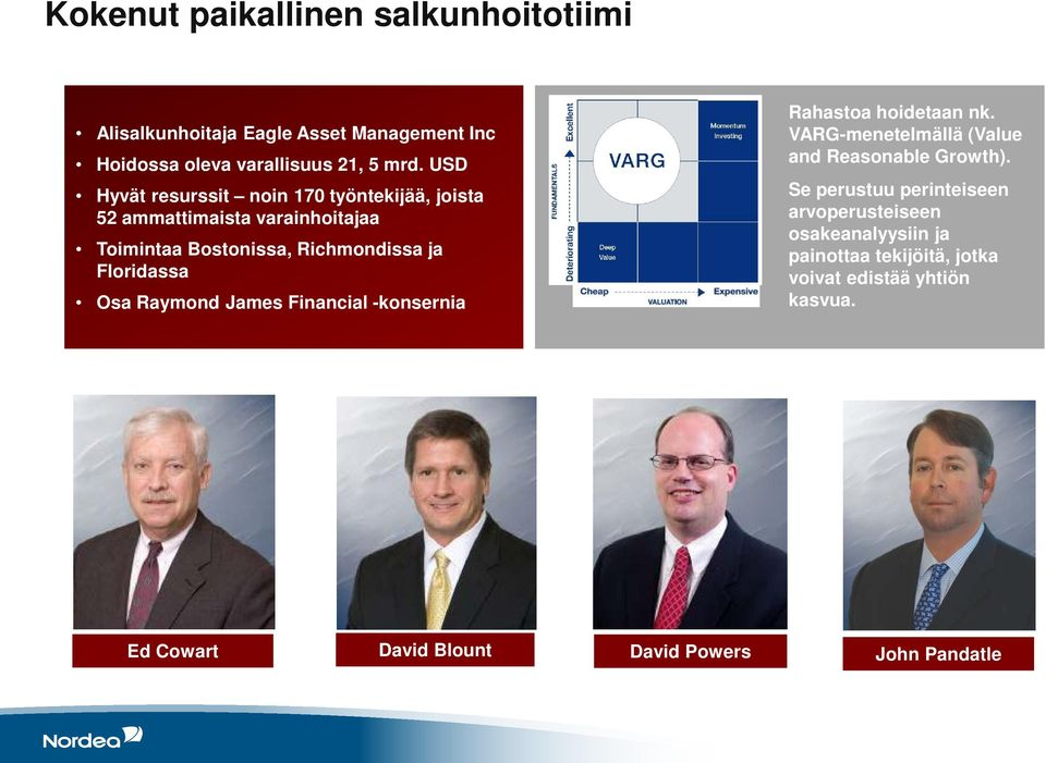 Osa Raymond James Financial -konsernia Rahastoa hoidetaan nk. VARG-menetelmällä (Value and Reasonable Growth).