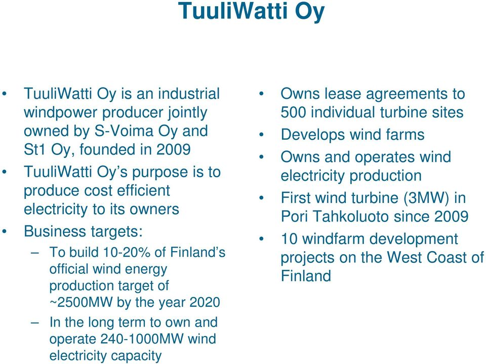 year 2020 In the long term to own and operate 240-1000MW wind electricity capacity Owns lease agreements to 500 individual turbine sites Develops wind