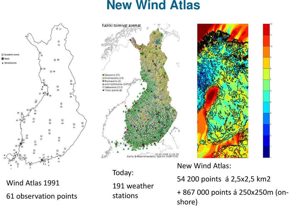 stations New Wind Atlas: 54 200 points á