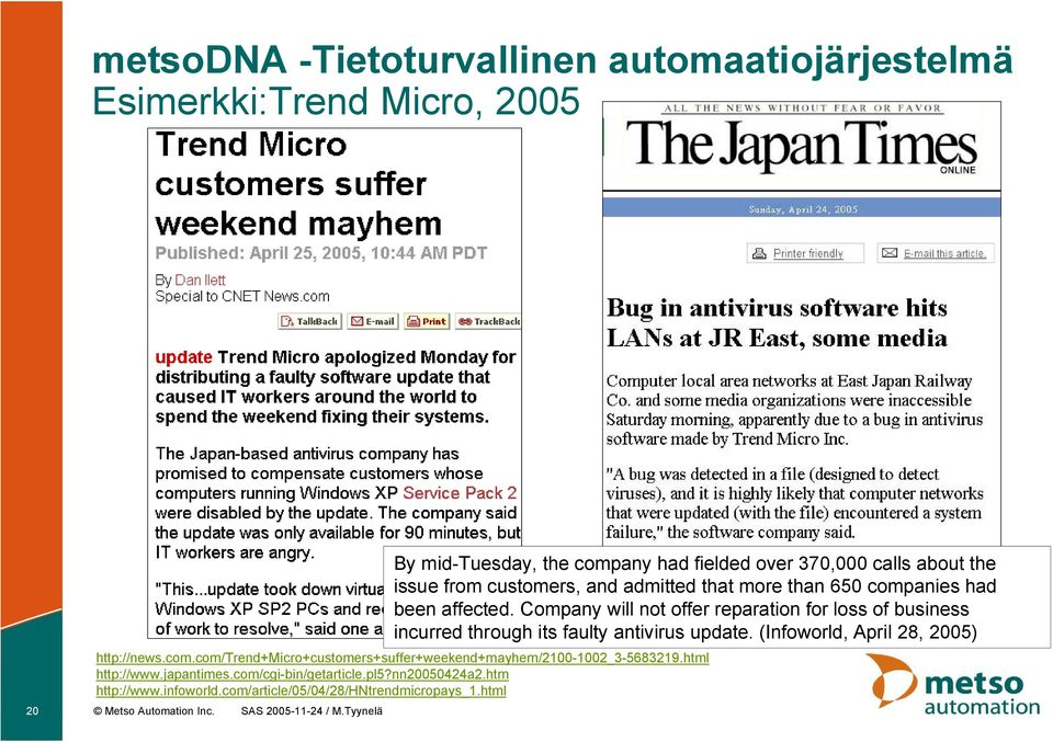 infoworld.com/article/05/04/28/hntrendmicropays_1.html 20 Metso Automation Inc. SAS 2005 11 24 / M.