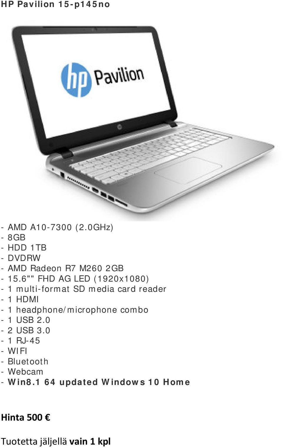 "6"""" FHD AG LED (1920x1080) - Win8."