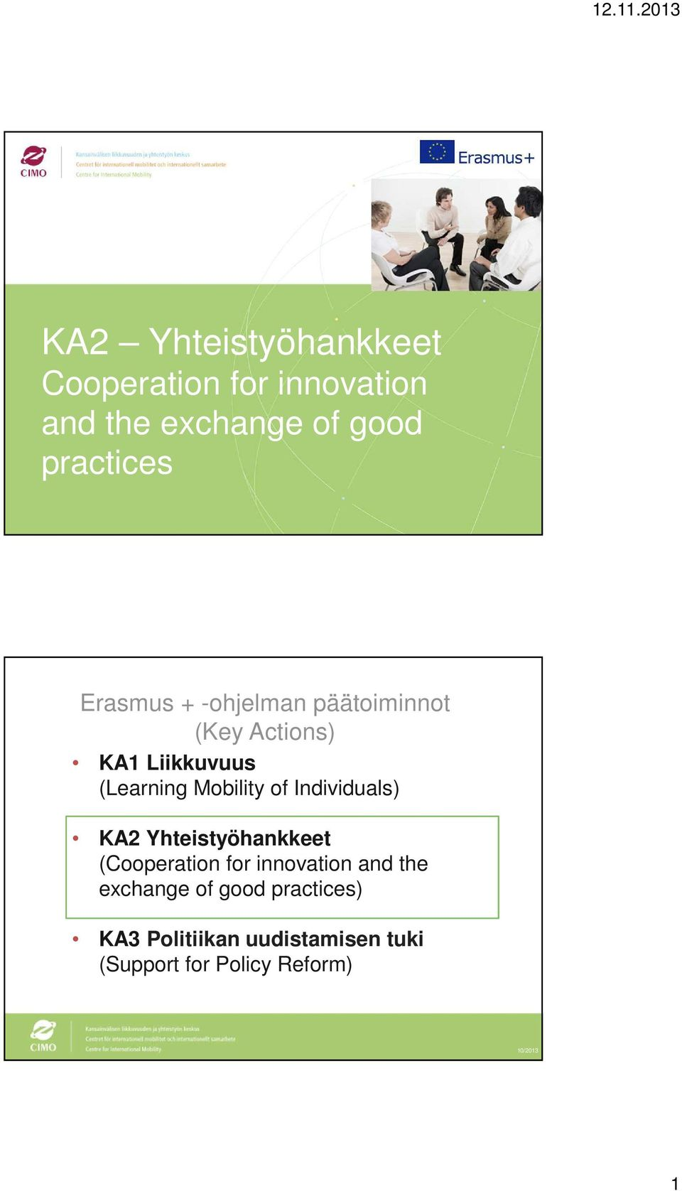 Mobility of Individuals) KA2 Yhteistyöhankkeet (Cooperation for innovation and the