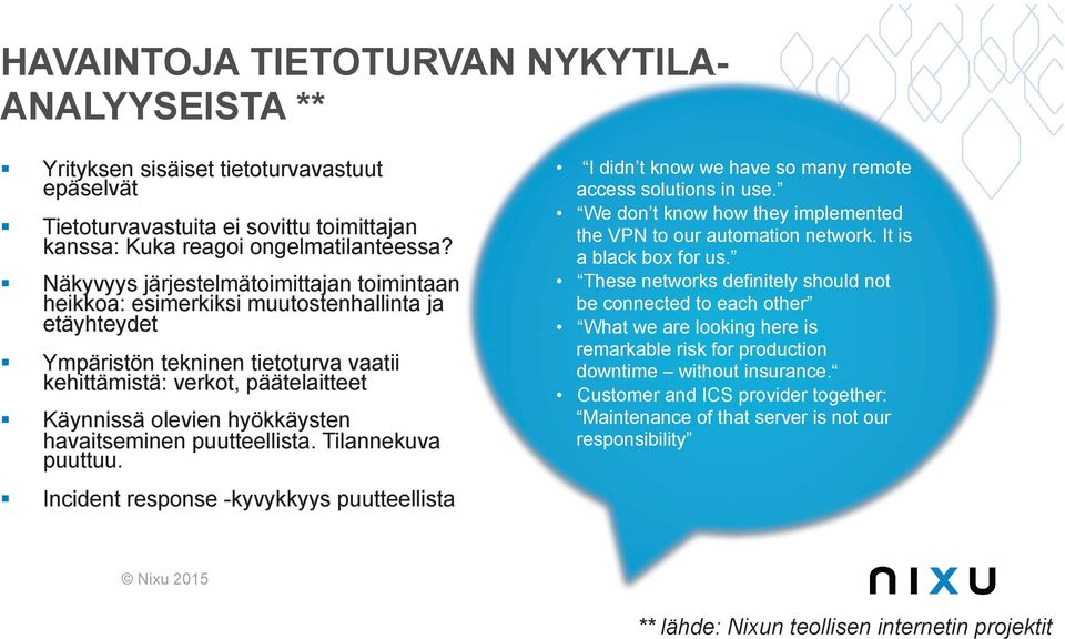 Käynnissä olevien hyökkäysten havaitseminen puutteellista. Tilannekuva puuttuu.! Incident response -kyvykkyys puutteellista I didn t know we have so many remote access solutions in use.