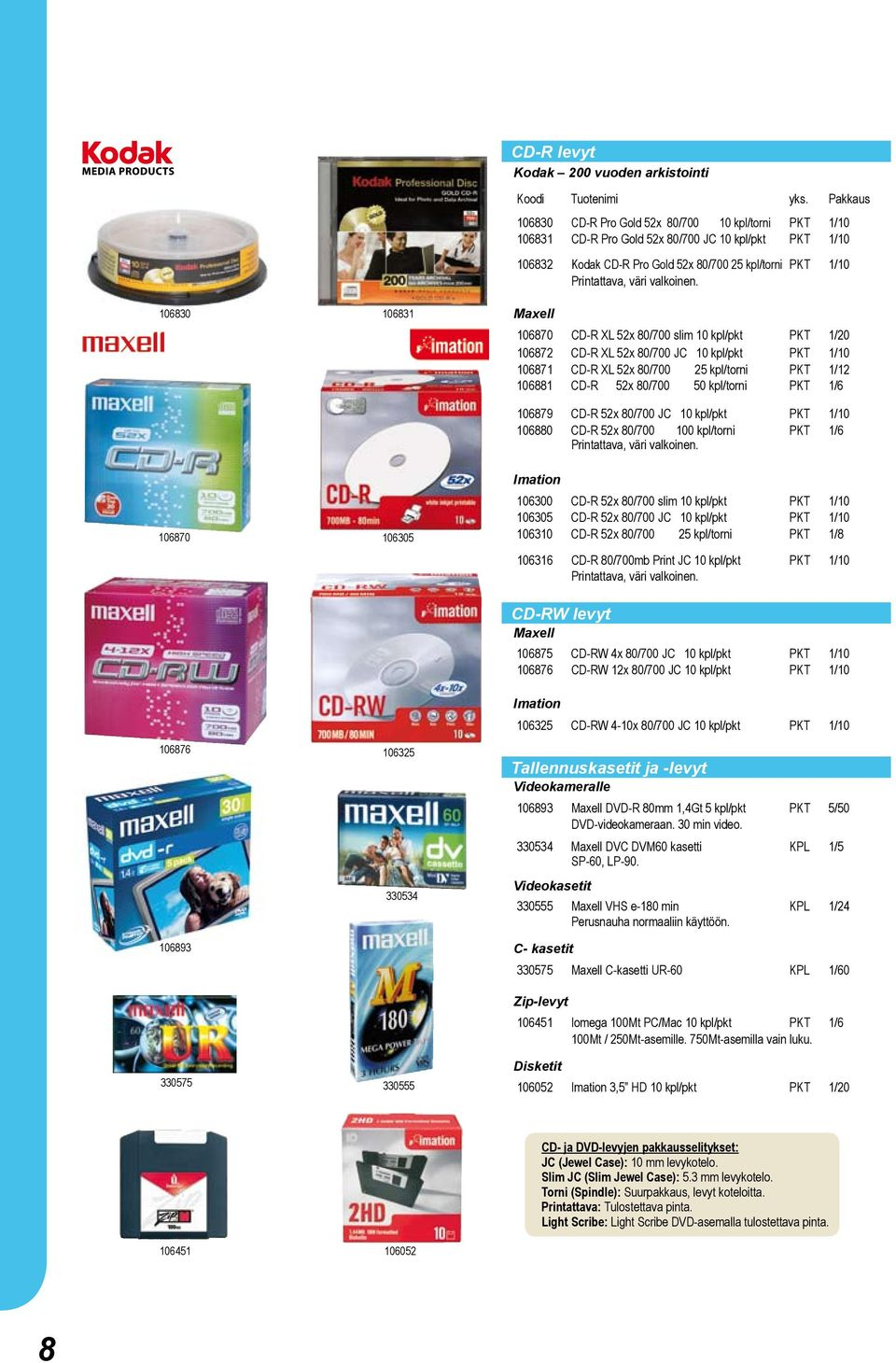 Maxell 106870 CD-R XL 52x 80/700 slim 10 kpl/pkt PKT 1/20 106872 CD-R XL 52x 80/700 JC 10 kpl/pkt PKT 1/10 106871 CD-R XL 52x 80/700 25 kpl/torni PKT 1/12 106881 CD-R 52x 80/700 50 kpl/torni PKT 1/6