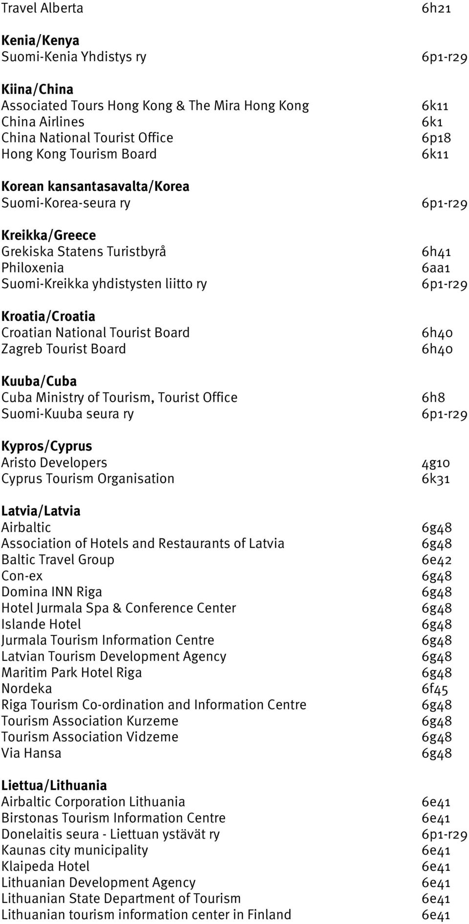 Board Kuuba/Cuba Cuba Ministry of Tourism, Tourist Office Suomi-Kuuba seura ry Kypros/Cyprus Aristo Developers Cyprus Tourism Organisation Latvia/Latvia Airbaltic Association of Hotels and