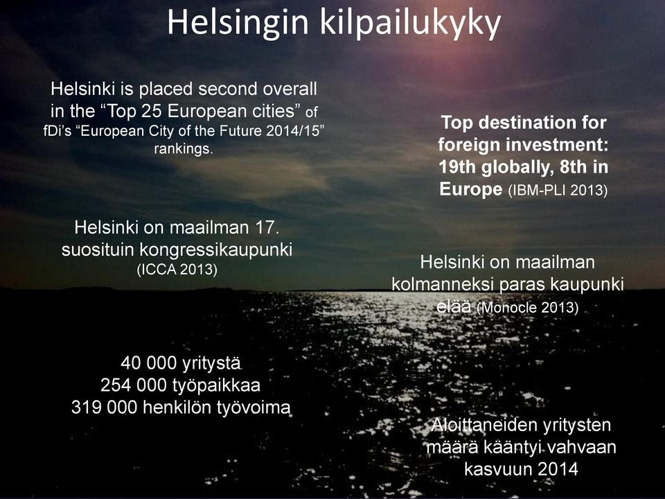 suosituin kongressikaupunki (ICCA 2013) Top destination for foreign investment: 19th globally, 8th in Europe (IBM-PLI