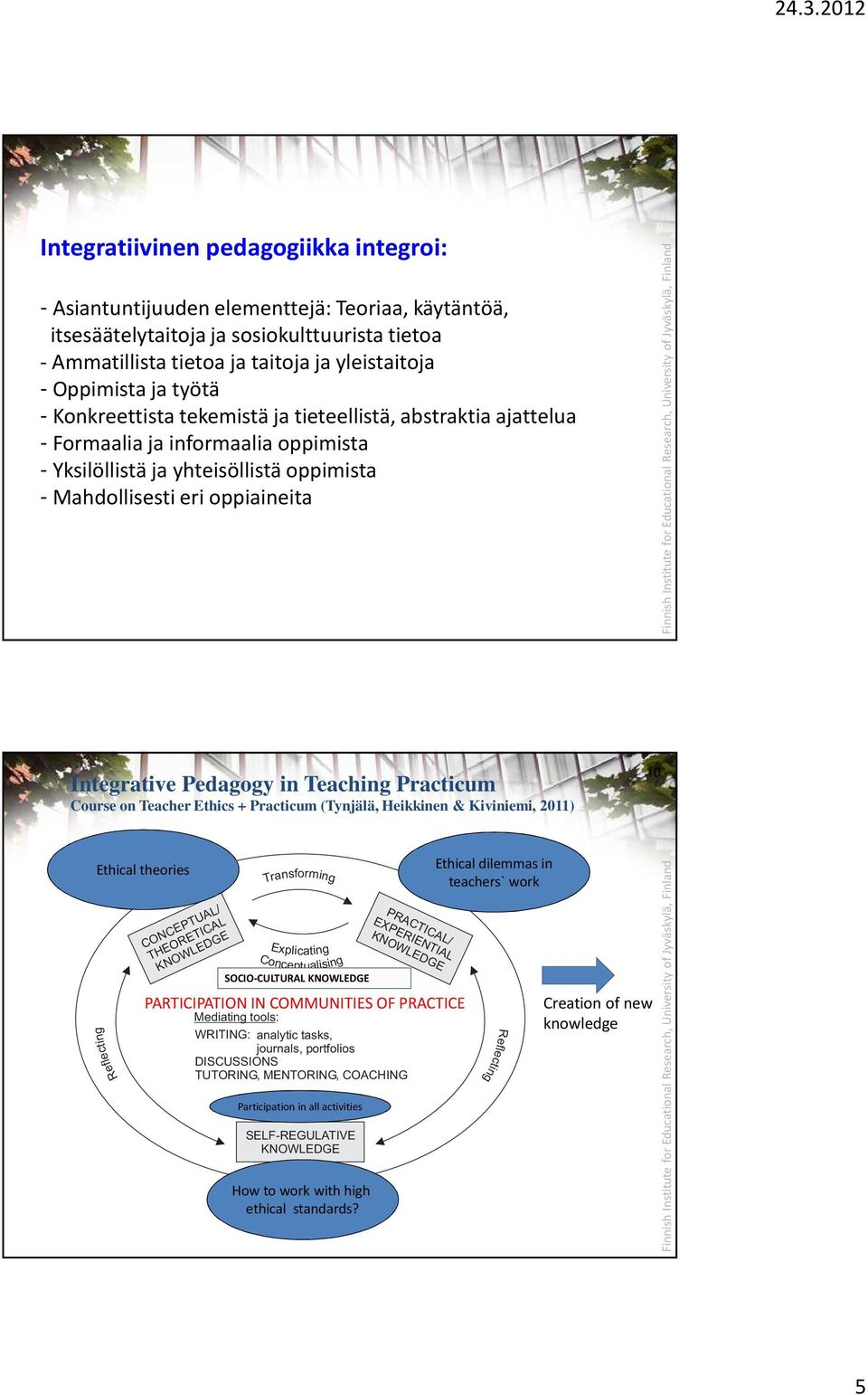 Pedagogy in Teaching Practicum Course on Teacher Ethics + Practicum (Tynjälä, Heikkinen & Kiviniemi, 2011) 10 Ethical theories CONCEPTUAL/ THEORETICAL Transforming Explicating Conceptualising