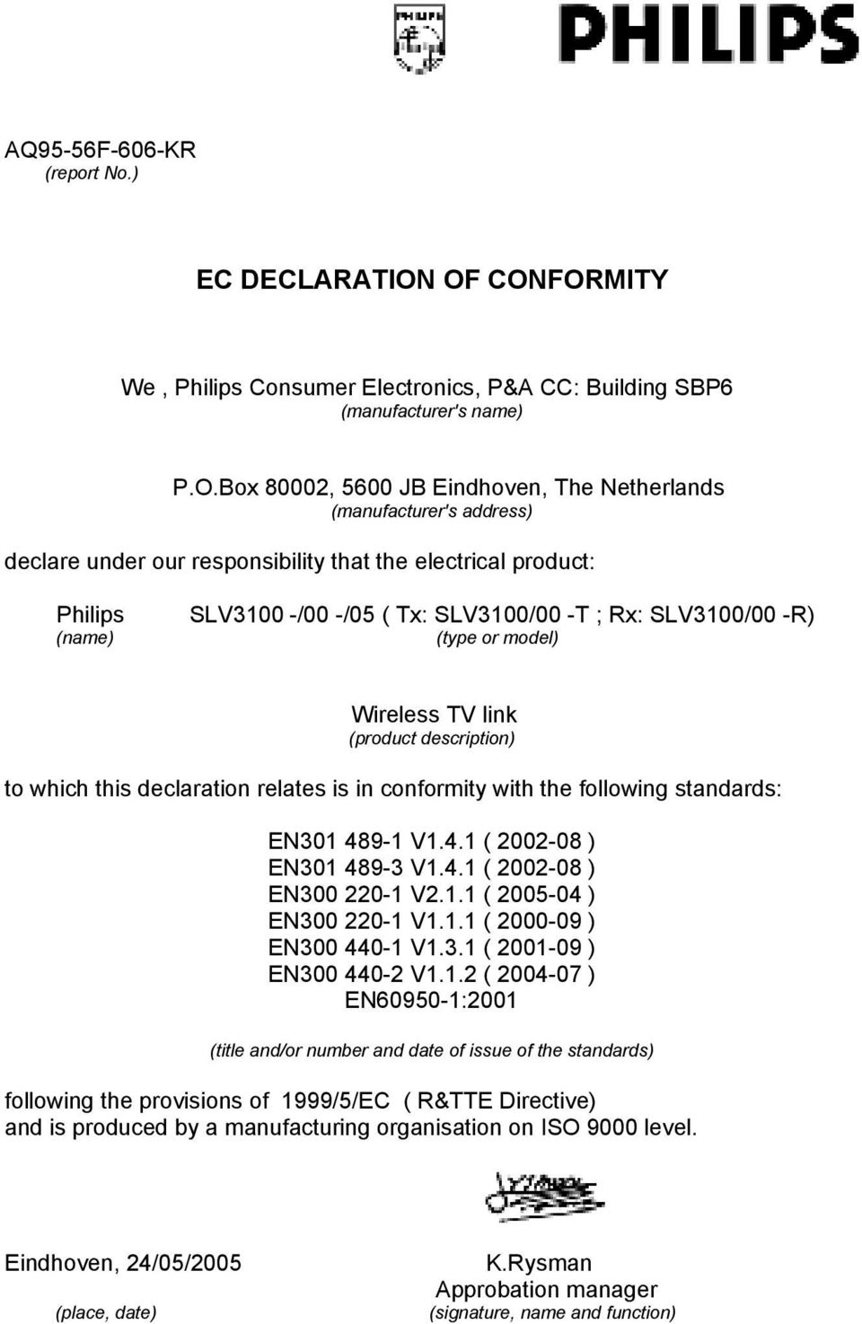 that the electrical product: Philips (name) SLV3100 -/00 -/05 ( Tx: SLV3100/00 -T ; Rx: SLV3100/00 -R) (type or model) Wireless TV link (product description) to which this declaration relates is in