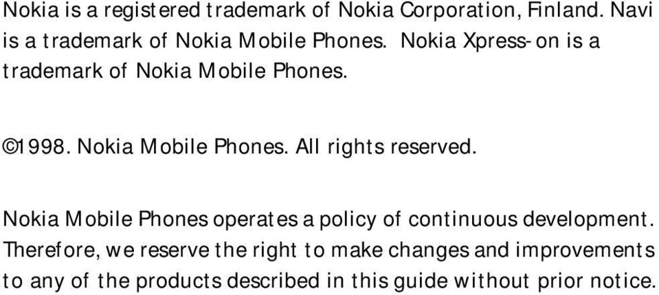 1998. Nokia Mobile Phones. All rights reserved.