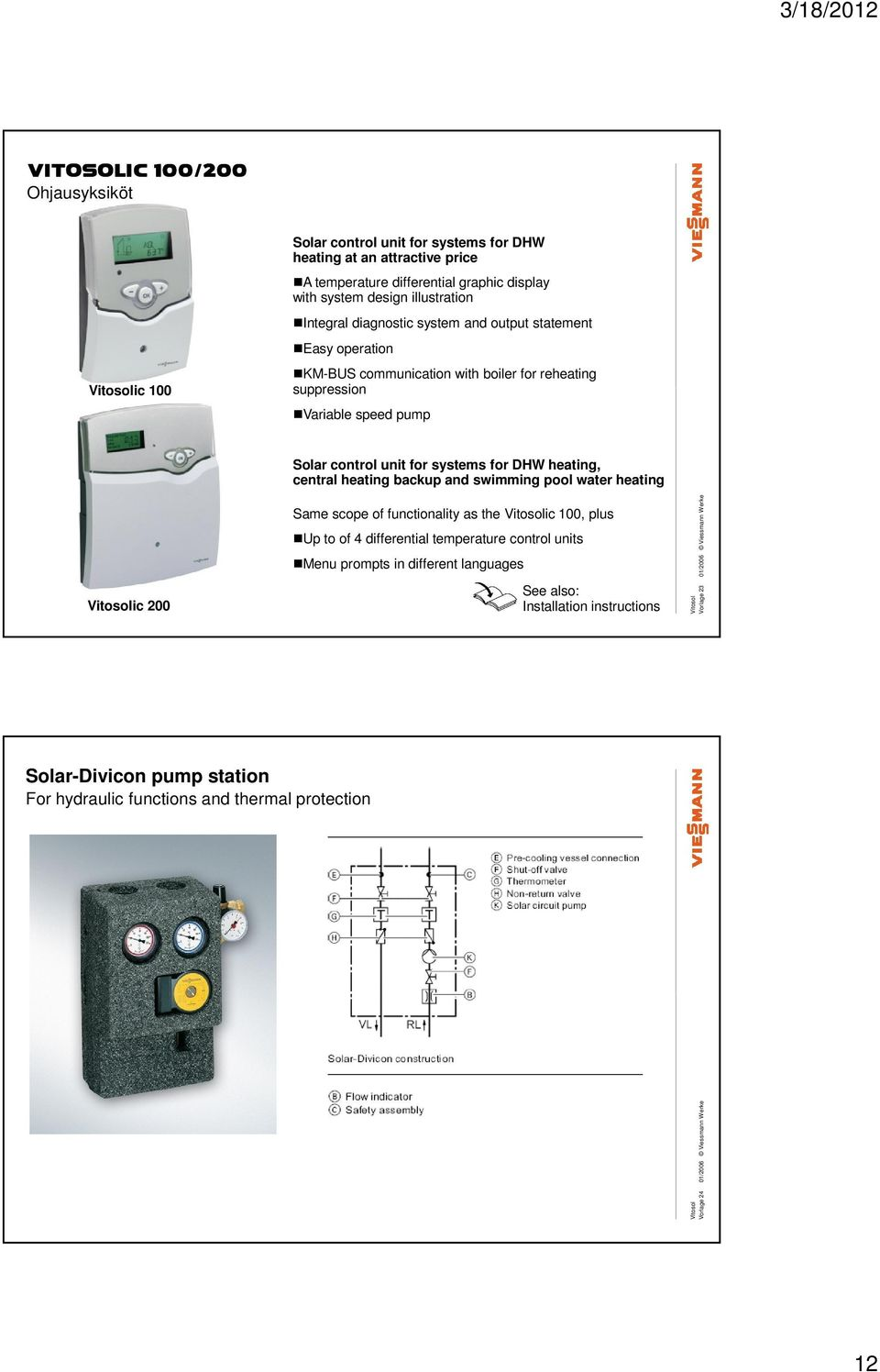 heating, central heating backup and swimming pool water heating ic 200 Same scope of functionality as the ic 100, plus Up to of 4 differential temperature control units Menu prompts in