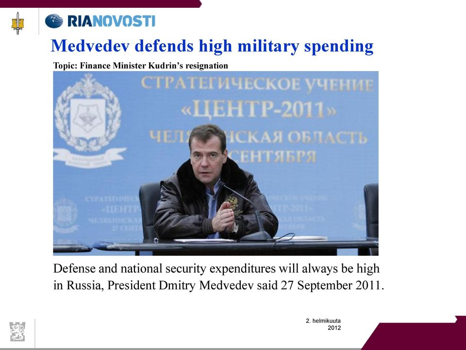 national security expenditures will always be high