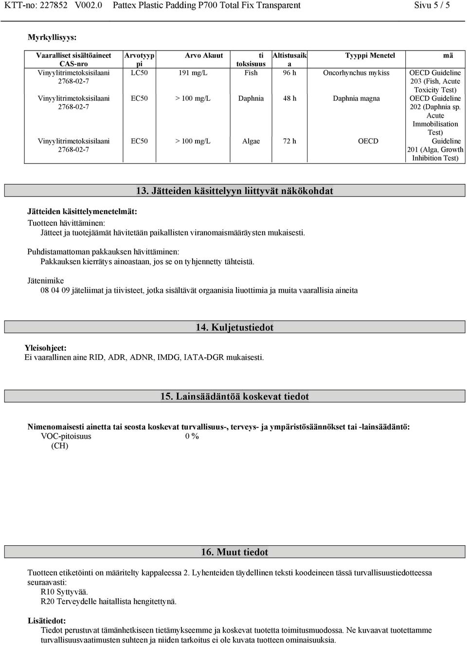 96 h Oncorhynchus mykiss OECD Guideline 203 (Fish, Acute Toxicity Test) EC50 > 100 mg/l Daphnia 48 h Daphnia magna OECD Guideline 202 (Daphnia sp.