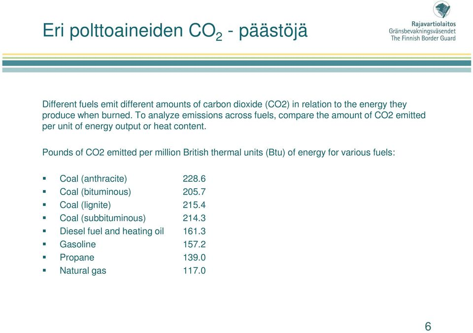 Pounds of CO2 emitted per million British thermal units (Btu) of energy for various fuels: Coal (anthracite) 228.