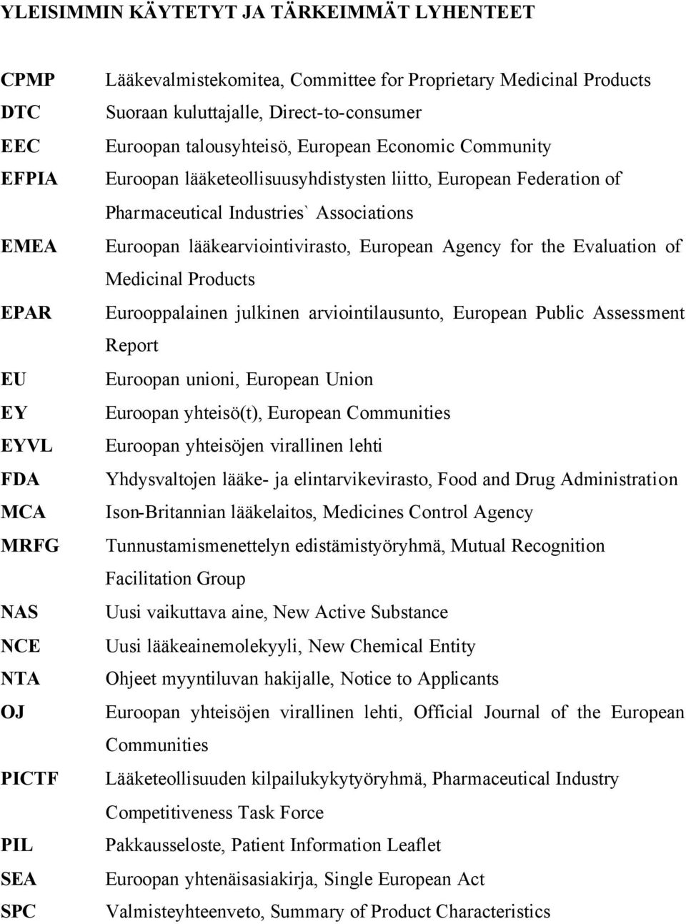 Euroopan lääkearviointivirasto, European Agency for the Evaluation of Medicinal Products Eurooppalainen julkinen arviointilausunto, European Public Assessment Report Euroopan unioni, European Union