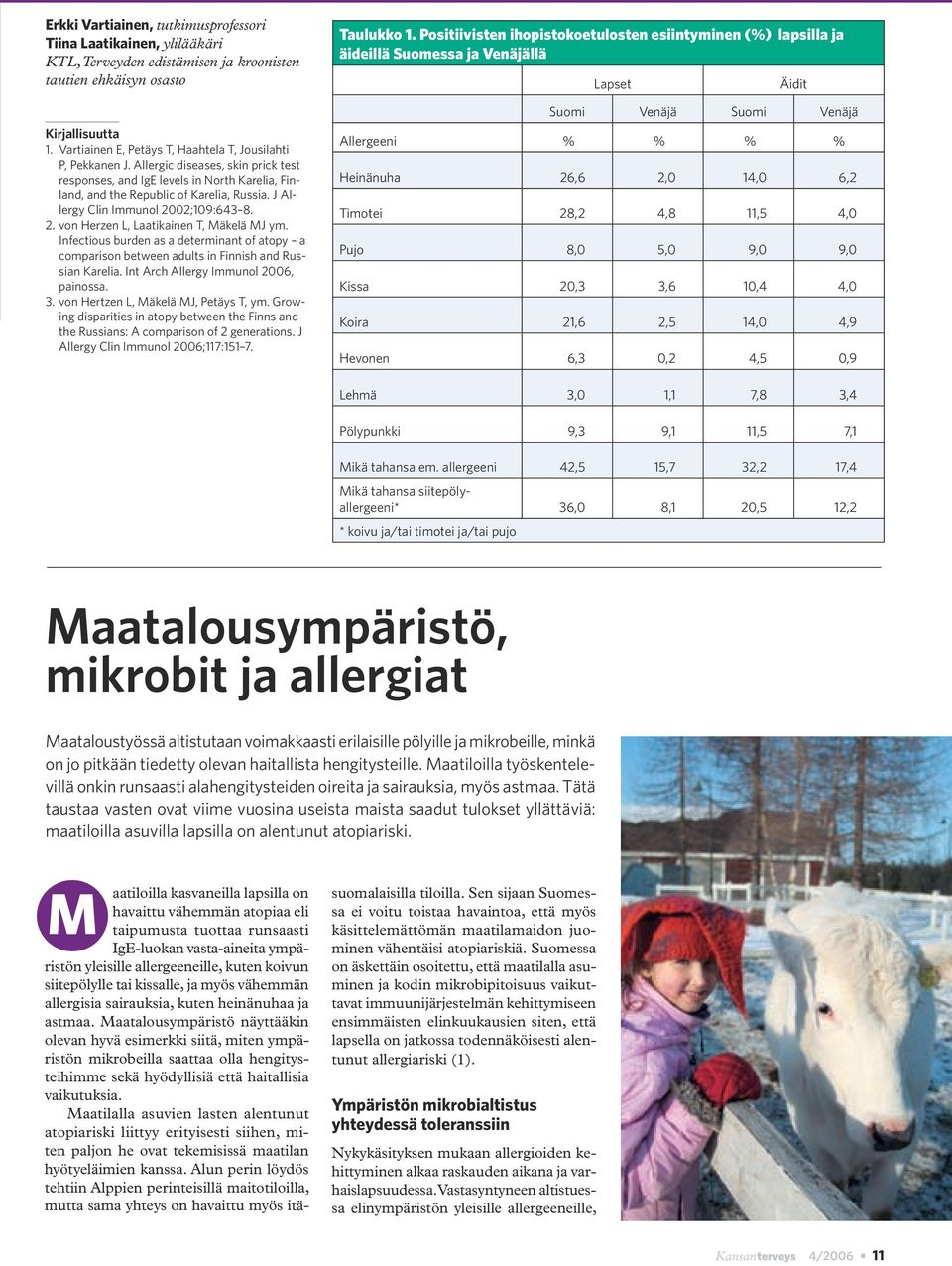 J Allergy Clin Immunol 2002;109:643 8. 2. von Herzen L, Laatikainen T, Mäkelä MJ ym. Infectious burden as a determinant of atopy a comparison between adults in Finnish and Russian Karelia.