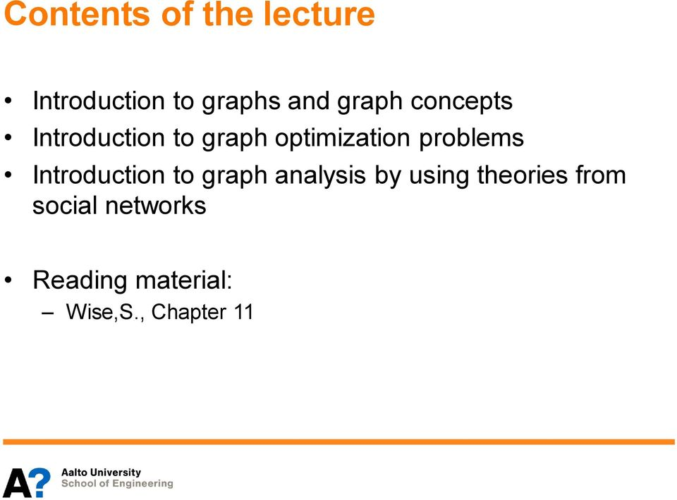 problems Introduction to graph analysis by using
