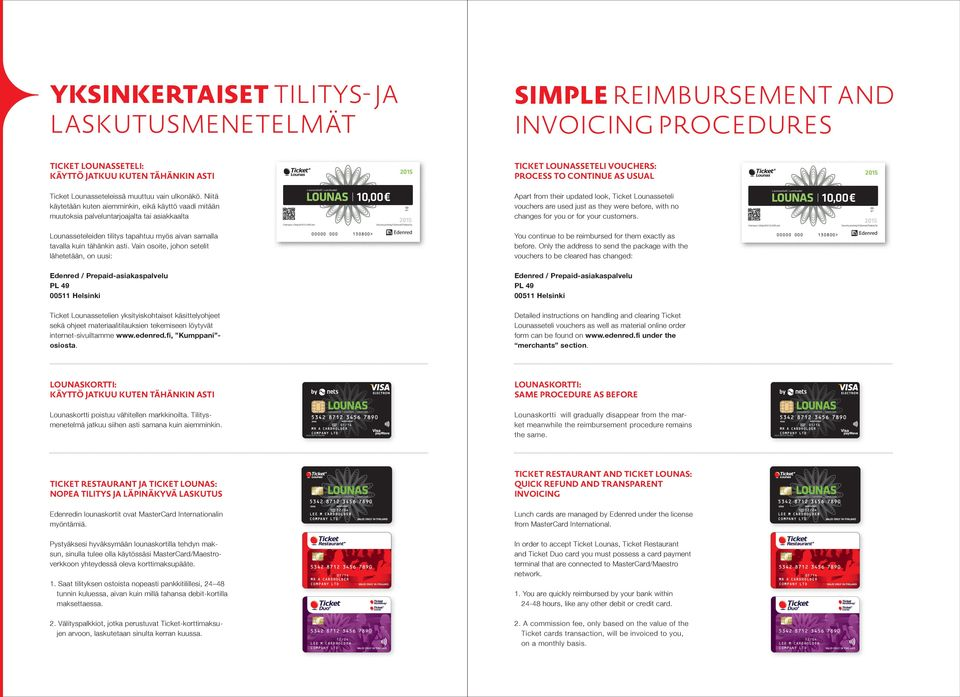 lähetetään, on uusi: Apart from their updated look, Ticket Lounasseteli vouchers are used just as they were before, with no changes for you or for your customers You continue to be reimbursed for