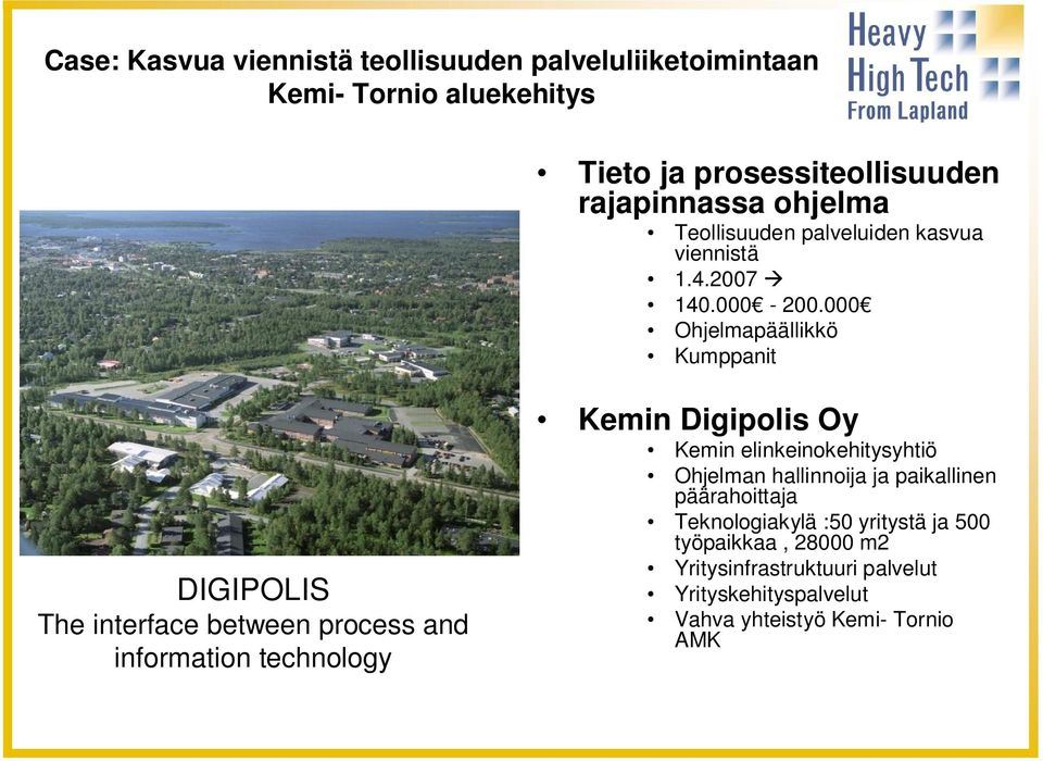 000 Ohjelmapäällikkö Kumppanit DIGIPOLIS The interface between process and information technology Kemin Digipolis Oy Kemin