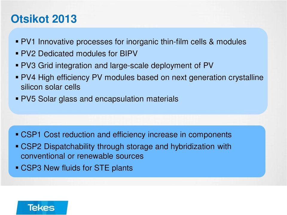 silicon solar cells PV5 Solar glass and encapsulation materials CSP1 Cost reduction and efficiency increase in