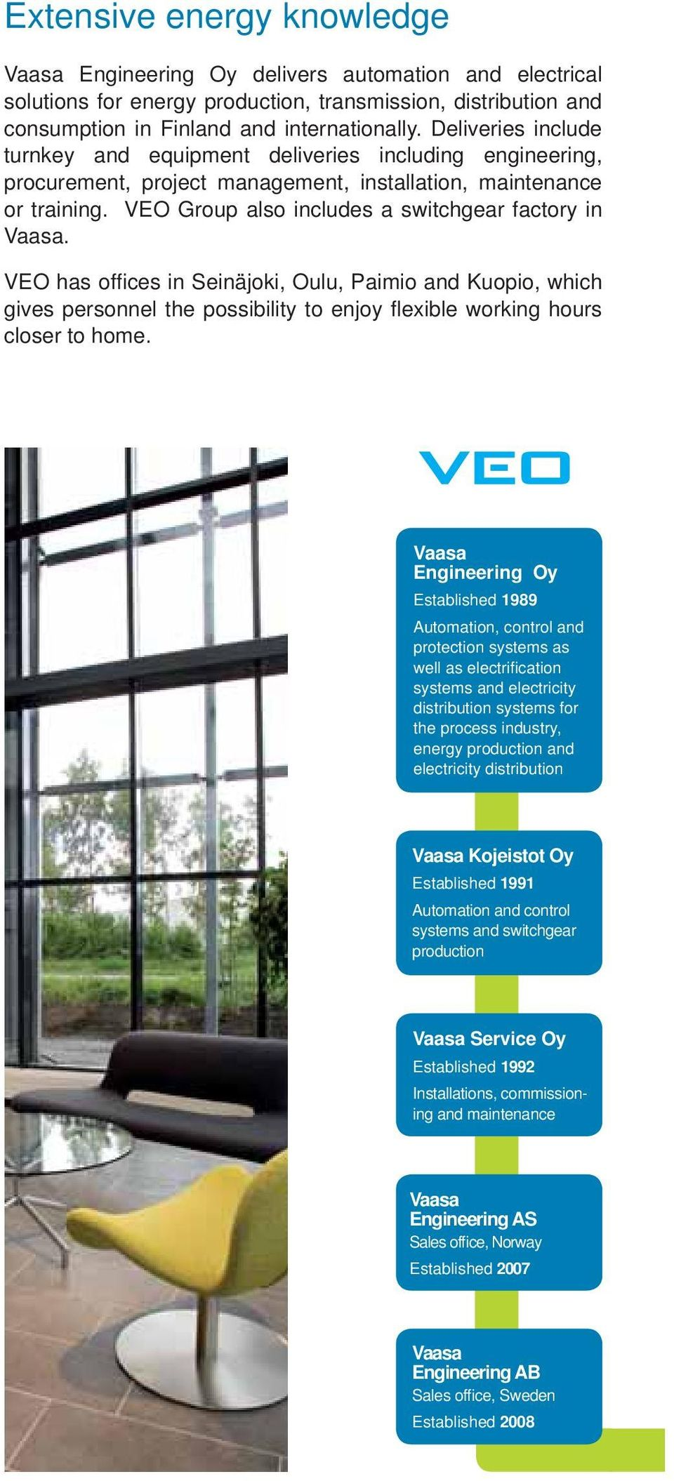 VEO has offi ces in Seinäjoki, Oulu, Paimio and Kuopio, which gives personnel the possibility to enjoy fl exible working hours closer to home.