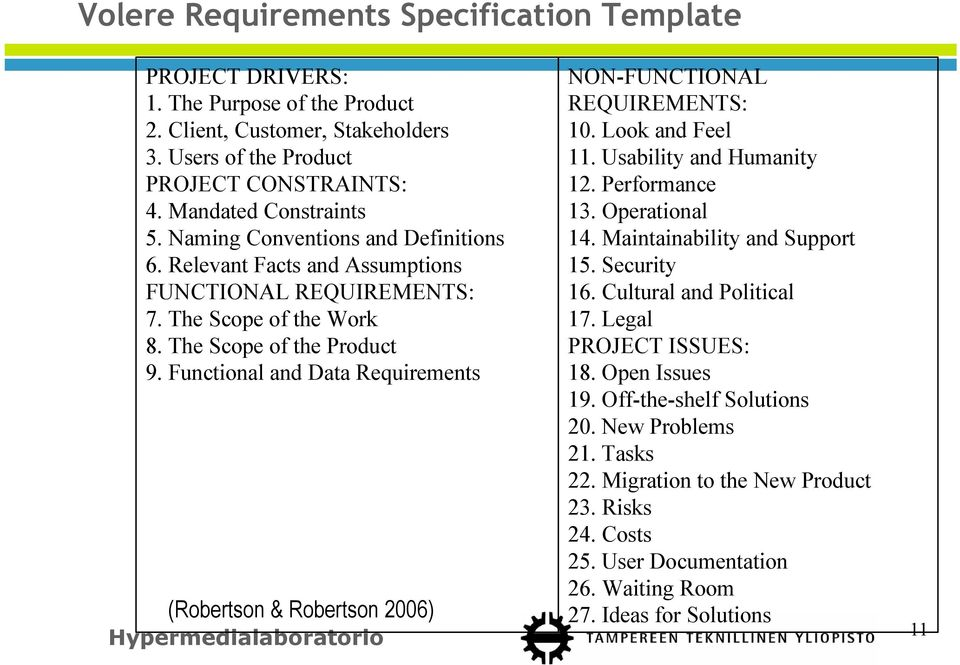 Functional and Data Requirements (Robertson & Robertson 2006) NON-FUNCTIONAL REQUIREMENTS: 10. Look and Feel 11. Usability and Humanity 12. Performance 13. Operational 14.