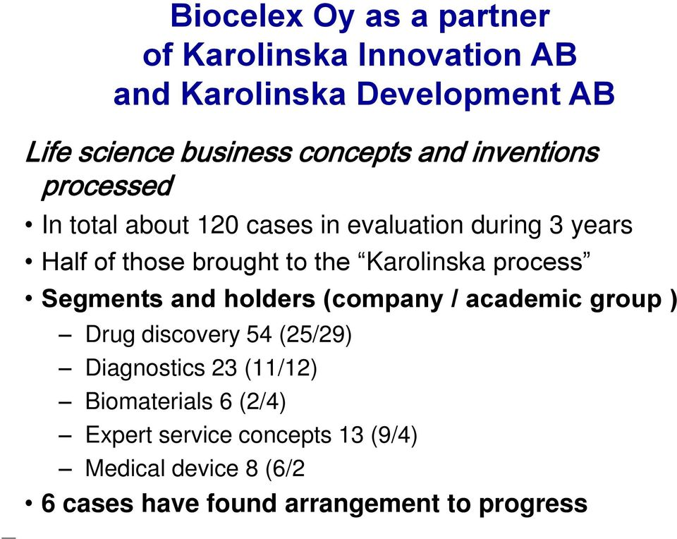 Karolinska process Segments and holders (company / academic group ) Drug discovery 54 (25/29) Diagnostics 23